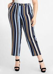Stripe High Waist Ankle Pant