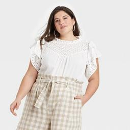 Women's Flutter Short Sleeve Eyelet Top - A New Day™
