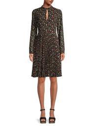 Berry-Print Pleated Dress