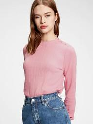Cropped Pointelle Crewneck T-Shirt