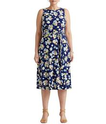 Plus Size Sleeveless Floral Printed Jersey Fit & Flare Dress