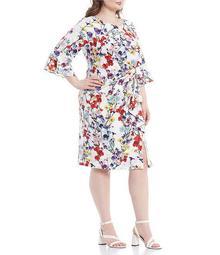 Plus Size 3/4 Sleeve Floral Printed Draped Stretch Sheath Dress