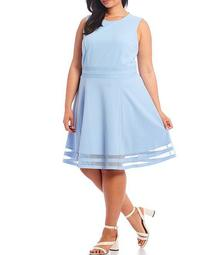 Plus Size Sleeveless Illusion Hem Fit & Flare Dress