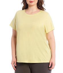 Plus Size Organic Pima Cotton Jersey Round Neck Cap Sleeve Tee