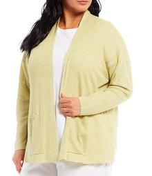 Plus Size Organic Linen High Collar Cardigan