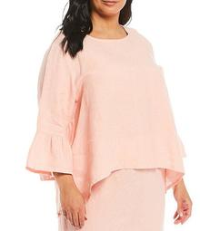 Plus Size Fran Light Linen Bell Sleeve Hi-Low Shirt