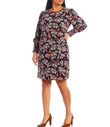Plus Size Long Sleeve Feather Floral Smocked Shift Dress