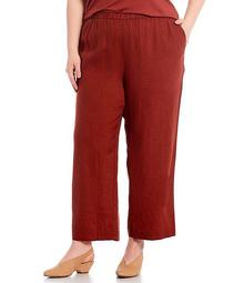 Plus Size Organic Linen Wide Leg Pull-On Ankle Pants