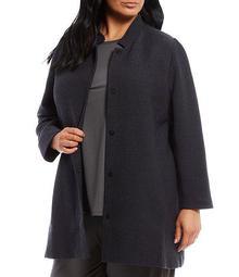 Plus Size Cotton Tencel Jacquard Stand Collar Long Jacket