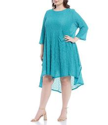 Plus Size Elastic Lace Wide Bottom Pucker Tunic