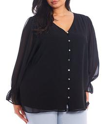 Plus Size Solid Chiffon V-Neck Long Sleeve Button Front Blouse