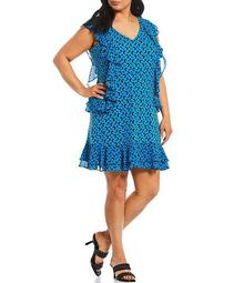 MICHAEL Michael Kors Plus Size Sixties Floral Print Lux Eco Matte Jersey V-Neck Sleeveless Cascade Ruffle Dress