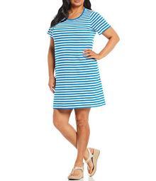 MICHAEL Michael Kors Plus Size Yarn Dyed Stripe Print Knit Jersey Scoop Neck Short Sleeve Dress