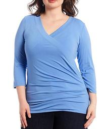 Plus Size 3/4 Sleeve Wrap-Style Jersey Top