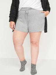 Foldover-Waist Lightweight French Terry Plus-Size Yoga Shorts -- 5-inch inseam