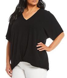 MICHAEL Michael Kors Plus Size Solid Textured Knit Stripe V-Neck Short Sleeve Twist Front Hi-Low Top