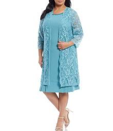Plus Size Stretch Lace Solid Knit 2-Piece Jacket Dress