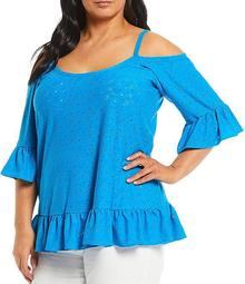 MICHAEL Michael Kors Plus Size Solid Aw Sixties Floral Faux Eyelet Ruffle Cold-Shoulder Sleeve Top