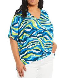 MICHAEL Michael Kors Plus Size Sixties Swirl Print Knit Jersey V-Neck Short Sleeve Twist Front Hi-Low Top