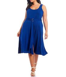 Plus Size Sleeveless Scoop Neck Belted Midi Dress