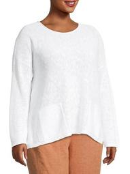 Plus Linen-Blend Crewneck Top