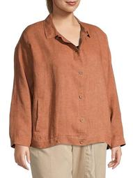 Plus Organic Linen Shirt Jacket