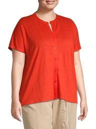 Plus Mandarin Collar Linen Button-Down Shirt