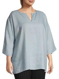 Plus Split-Neck Linen Tunic