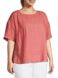 Plus Dropped-Shoulder Linen Top