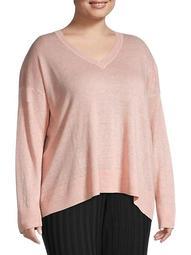 Plus V-Neck Linen Sweater