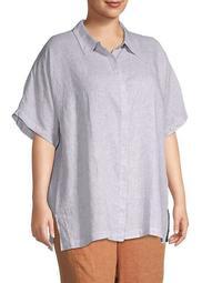 Plus Check Organic Linen Shirt
