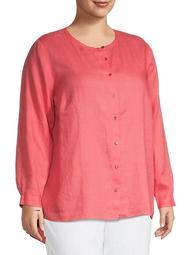 Plus Linen Long-Sleeve Shirt