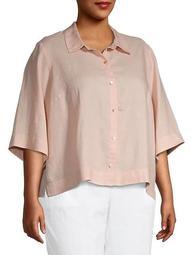 Plus Collared Linen Button-Down Shirt