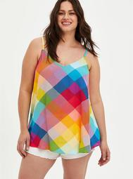 Sophie - Rainbow Plaid Crinkle Gauze Cami