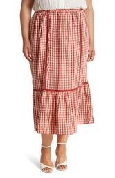 Tiered Gingham Maxi Skirt