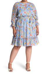 Chiffon Keyhole Belted Peasant Dress
