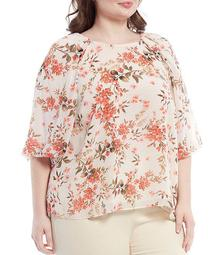 Plus Size Floral Print Chiffon Round Neck 3/4 Puff Sleeve Top