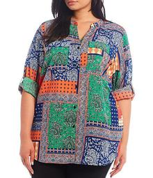 Plus Size Patchwork Print Crepe de Chine Roll-Tab Sleeve Button Front Top
