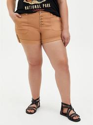Brown Buttonfly Twill Military Short
