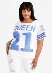Sequin Queen Graphic Jersey Tee