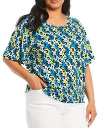 MICHAEL Michael Kors Plus Size Multi Sixties Floral Print Knit Jersey Scoop Neck Smocked Waist Flutter Sleeve Top
