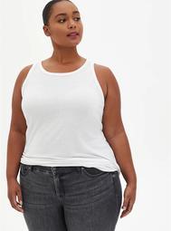 Slim Fit High Neck Tank - Triblend Jersey White