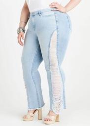 Rhinestone Distressed Flared Jeans