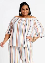 Striped Tiered Smocked Peasant Top