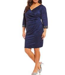 Plus Size V-Neck 3/4 Sleeve Beaded Detail Ruched Sheath Dress
