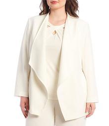 Plus Size Crepe Drape Front Jacket