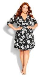 Mod Floral Dress - black