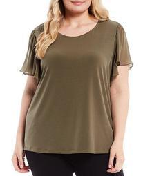 Plus Size Solid Matte Jersey Round Neck Chiffon Flutter Sleeve Top