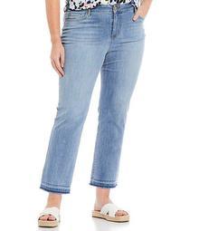 Plus Size Classic Straight Leg Fray Hem Ankle Jeans