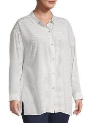 Plus Silk Pinstriped Shirt